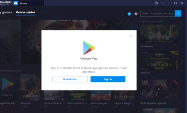 Bluestack sign in ke google play akun
